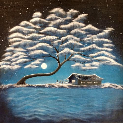 the snow night, 37 x 32 inch, dhaval chavda,nature paintings,paintings for living room,canvas,oil,37x32inch,GAL015534418Nature,environment,Beauty,scenery,greenery