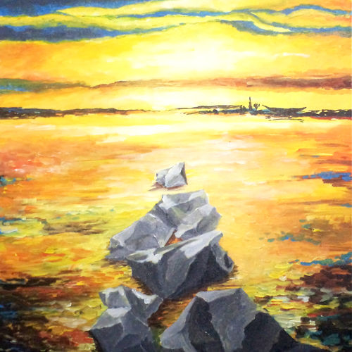landscape, 24 x 30 inch, narayanan namboothiri n,24x30inch,canvas,paintings,abstract paintings,paintings for dining room,paintings for living room,paintings for bedroom,paintings for office,paintings for hotel,paintings for school,paintings for hospital,acrylic color,GAL03154944193