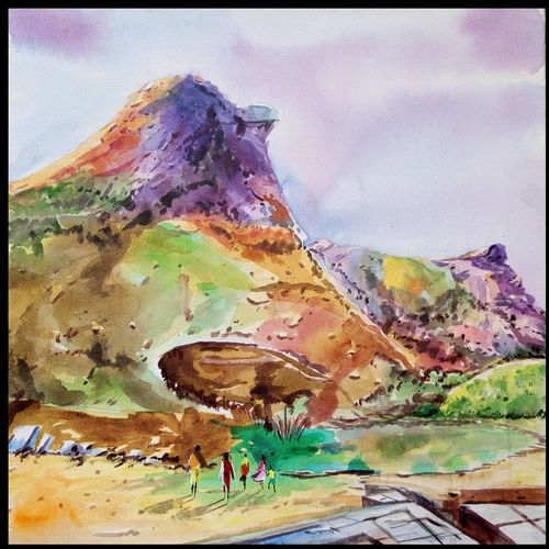 serene valley, 18 x 18 inch, surya vamshi,landscape paintings,paintings for office,canvas,acrylic color,18x18inch,GAL0235442