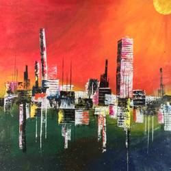 the day n night, 32 x 36 inch, dhaval chavda,cityscape paintings,paintings for office,nature paintings,canvas,oil,32x36inch,GAL015534420Nature,environment,Beauty,scenery,greenery,shadow,buildings,sun