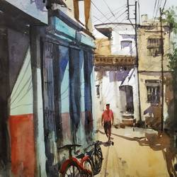 street, 13 x 22 inch, soyli saha,13x22inch,thick paper,paintings,cityscape paintings,paintings for dining room,paintings for living room,paintings for bedroom,paintings for office,paintings for bathroom,paintings for kids room,paintings for hotel,paintings for kitchen,paintings for school,paintings for hospital,watercolor,GAL0606544201