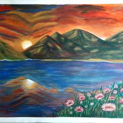 river side landscape, mountain scape, 36 x 24 inch, dr. preeti kadu,36x24inch,canvas,paintings,flower paintings,landscape paintings,nature paintings   scenery paintings,realism paintings,paintings for dining room,paintings for living room,paintings for bedroom,paintings for office,paintings for bathroom,paintings for kids room,paintings for hotel,paintings for kitchen,paintings for school,paintings for hospital,acrylic color,GAL03077644217