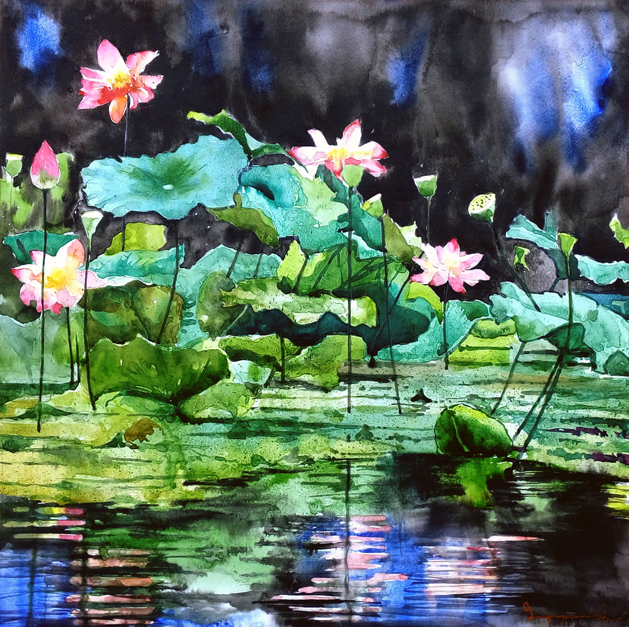 lotus pond, 18 x 18 inch, jeyaprakash m,flower paintings,paintings for living room,canson paper,watercolor,18x18inch,GAL011024422