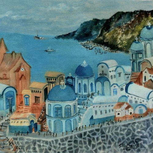 santorini greece - oil on canvas, 35 x 19 inch, soumitra chatterjee,35x19inch,canvas,paintings,cityscape paintings,paintings for living room,paintings for bedroom,paintings for office,paintings for hotel,paintings for school,oil color,GAL0462144226