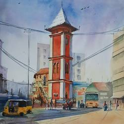 clock tower, nagercoil, 15 x 22 inch, vivek anand,15x22inch,canson paper,paintings,cityscape paintings,paintings for living room,watercolor,GAL0366044234