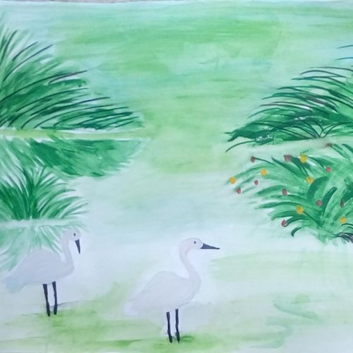 cranes, 9 x 11 inch, mrs. kalyani lahon,wildlife paintings,paintings for living room,paper,poster color,9x11inch,GAL06574424