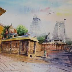 thiruvannamalai arunachaleshwar temple, 22 x 15 inch, vivek anand,22x15inch,canson paper,paintings,cityscape paintings,paintings for office,watercolor,GAL0366044245