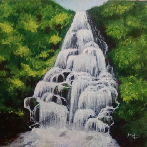 waterfalls, 16 x 12 inch, ebenezer paul,nature paintings,paintings for living room,canvas board,acrylic color,16x12inch,GAL012204425Nature,environment,Beauty,scenery,greenery