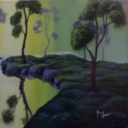 green forest, 16 x 12 inch, ebenezer paul,nature paintings,paintings for living room,paintings for office,canvas board,acrylic color,16x12inch,GAL012204426Nature,environment,Beauty,scenery,greenery