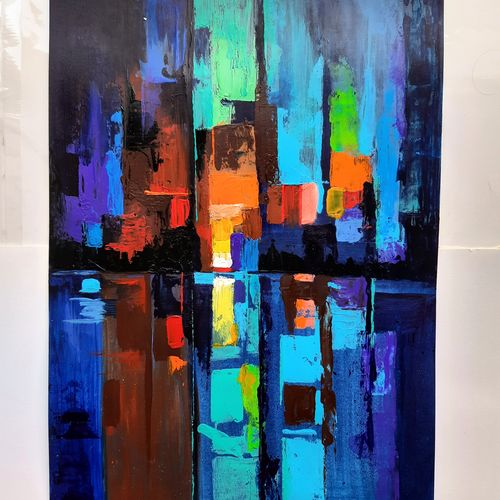 vibrancy of a cityscape, 14 x 18 inch, sneha subramanian,14x18inch,fabriano sheet,paintings,abstract paintings,paintings for dining room,paintings for living room,paintings for bedroom,paintings for office,acrylic color,GAL03162944262
