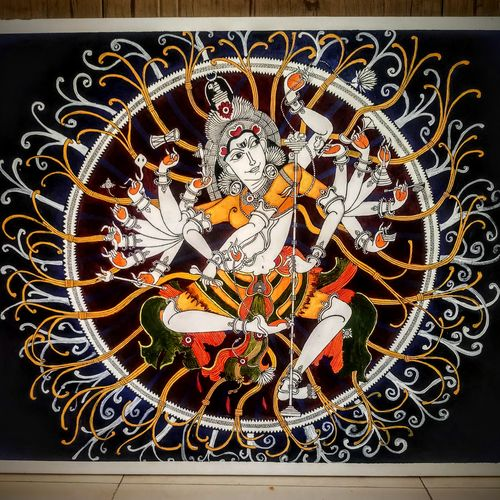 the cosmic dance, 24 x 30 inch, sneha subramanian,24x30inch,canvas,paintings,religious paintings,kalamkari painting,kerala murals painting,paintings for living room,paintings for office,paintings for hotel,paintings for living room,paintings for office,paintings for hotel,acrylic color,pen color,GAL03162944264