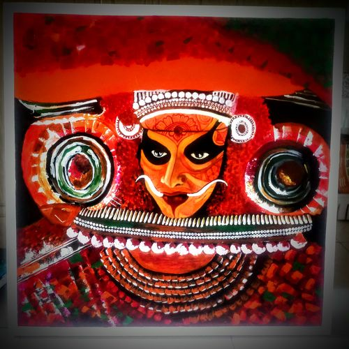 the magnificent theyyam, 30 x 30 inch, sneha subramanian,30x30inch,canvas,paintings,folk art paintings,religious paintings,portrait paintings,acrylic color,GAL03162944265