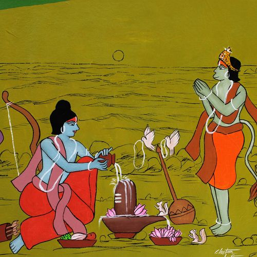 rama worshipping lord shiva, 29 x 18 inch, chetan katigar,29x18inch,canvas,paintings,abstract paintings,buddha paintings,wildlife paintings,figurative paintings,flower paintings,folk art paintings,foil paintings,cityscape paintings,landscape paintings,modern art paintings,multi piece paintings,conceptual paintings,religious paintings,still life paintings,portrait paintings,nature paintings | scenery paintings,tanjore paintings,abstract expressionism paintings,art deco paintings,cubism paintings,dada paintings,expressionism paintings,illustration paintings,impressionist paintings,minimalist paintings,photorealism paintings,photorealism,pop art paintings,realism paintings,street art,surrealism paintings,ganesha paintings | lord ganesh paintings,animal paintings,radha krishna paintings,contemporary paintings,realistic paintings,horse paintings,dog painting,children paintings,madhubani paintings | madhubani art,warli paintings,lord shiva paintings,kalighat painting,kalamkari painting,miniature painting.,kerala murals painting,serigraph paintings,paintings for dining room,paintings for living room,paintings for bedroom,paintings for office,paintings for bathroom,paintings for kids room,paintings for hotel,paintings for kitchen,paintings for school,paintings for hospital,acrylic color,GAL026644269