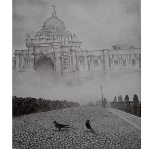 a winter morning, 8 x 12 inch, saheli sinha,8x12inch,ivory sheet,drawings,paintings for dining room,paintings for living room,paintings for bedroom,paintings for office,fine art drawings,realism drawings,paintings for dining room,paintings for living room,paintings for bedroom,paintings for office,graphite pencil,paper,GAL02790644273