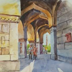 monument, 9 x 11 inch, anjan  laha,9x11inch,brustro watercolor paper,cityscape paintings,landscape paintings,impressionist paintings,paintings for living room,paintings for bedroom,paintings for office,paintings for hotel,paintings for school,paintings for hospital,paintings for living room,paintings for bedroom,paintings for office,paintings for hotel,paintings for school,paintings for hospital,watercolor,GAL02936144275