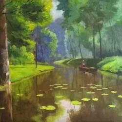 serenity, 20 x 16 inch, sangita sarkar,landscape paintings,paintings for living room,canvas,oil,20x16inch,GAL015594428