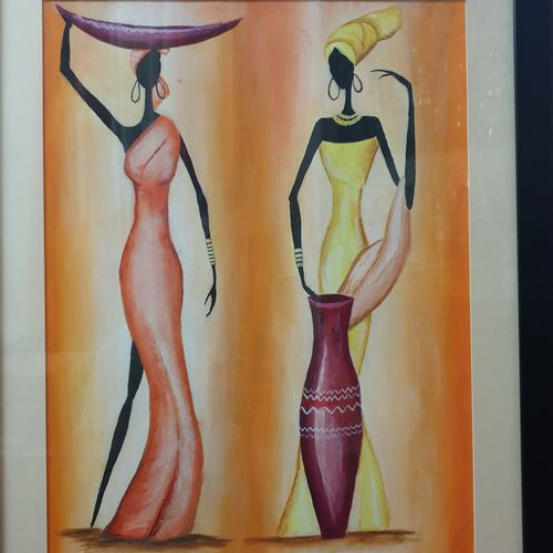 african tribals, 18 x 14 inch, sarabjit singh,18x14inch,canvas,abstract paintings,paintings for living room,paintings for hotel,paintings for living room,paintings for hotel,acrylic color,GAL02545444289