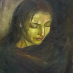woman of expression, 16 x 20 inch, sangita sarkar,portrait paintings,paintings for bedroom,canvas,oil,16x20inch,GAL015594429