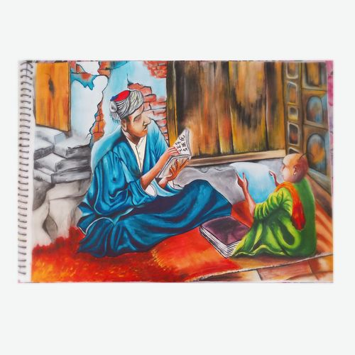 teacher and student painting, 16 x 12 inch, swati sankhla,16x12inch,thick paper,paintings,portrait paintings,expressionism paintings,illustration paintings,photorealism,portraiture,realism paintings,realistic paintings,paintings for dining room,paintings for living room,paintings for bedroom,paintings for office,paintings for kids room,paintings for hotel,paintings for kitchen,paintings for school,paintings for hospital,poster color,watercolor,GAL03167044295