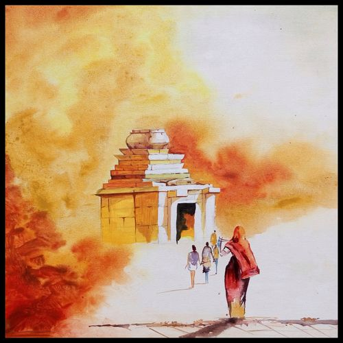 way to divine, 18 x 18 inch, surya vamshi,landscape paintings,paintings for living room,canvas,acrylic color,18x18inch,GAL0235443