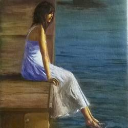 lonely, 16 x 20 inch, sangita sarkar,figurative paintings,paintings for bedroom,canvas,oil,16x20inch,GAL015594430