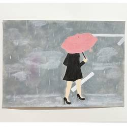 walking to the rhythm of rain drops, 8 x 12 inch, geethanjali s,8x12inch,drawing paper,paintings,modern art paintings,paintings for living room,paintings for bedroom,paintings for office,paintings for bathroom,paintings for school,acrylic color,GAL03168944306