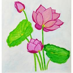 lotus, 8 x 12 inch, geethanjali s,8x12inch,drawing paper,paintings,flower paintings,paintings for dining room,paintings for bedroom,paintings for office,paintings for hotel,paintings for school,watercolor,GAL03168944307
