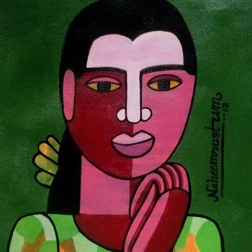 o alochana, 7 x 11 inch, naheem rustum,figurative paintings,paintings for office,paper,acrylic color,7x11inch,GAL03444431