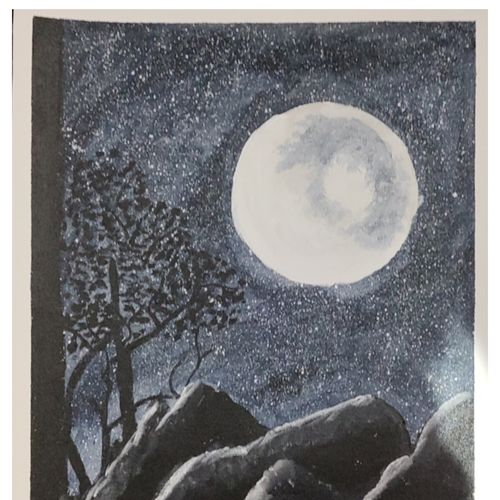 moonlit night, 12 x 15 inch, geethanjali s,12x15inch,canvas,paintings,nature paintings | scenery paintings,paintings for living room,paintings for bedroom,paintings for office,paintings for hotel,paintings for hospital,acrylic color,GAL03168944310
