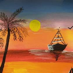 blissful sunset at sea , 12 x 10 inch, shruti kulkarni,12x10inch,canvas,paintings,nature paintings   scenery paintings,acrylic color,GAL03170044318