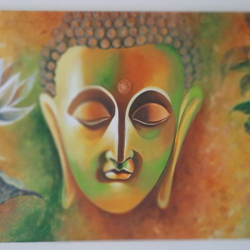 buddha eternal peace, 42 x 23 inch, heema patel ,42x23inch,canvas,buddha paintings,figurative paintings,religious paintings,acrylic color,GAL02493144323