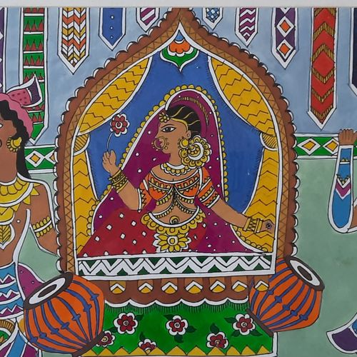 bride journey begins from here..., 16 x 13 inch, heema patel ,16x13inch,thick paper,folk art paintings,conceptual paintings,art deco paintings,madhubani paintings | madhubani art,paintings for dining room,paintings for living room,paintings for bedroom,paintings for hotel,paintings for hospital,paintings for dining room,paintings for living room,paintings for bedroom,paintings for hotel,paintings for hospital,poster color,GAL02493144324