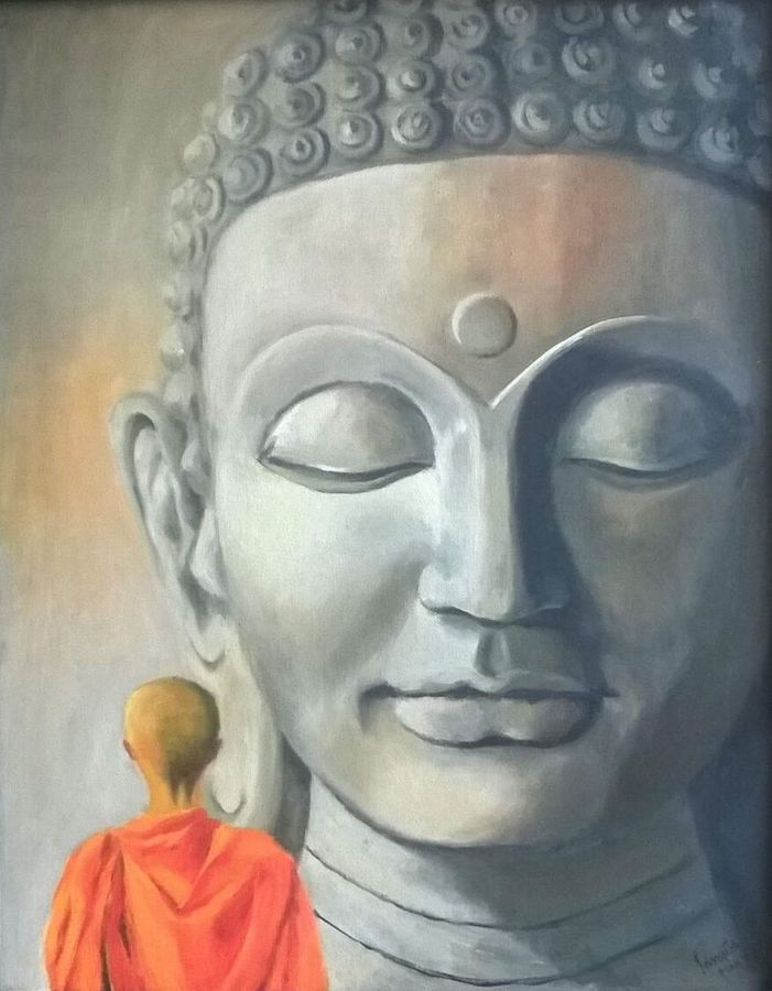 divine peace, 16 x 20 inch, sangita sarkar,buddha paintings,paintings for living room,canvas,oil,16x20inch,religious,peace,meditation,meditating,gautam,goutam,buddha,grey,peaceful,monk,giving blessing,praying,GAL015594433