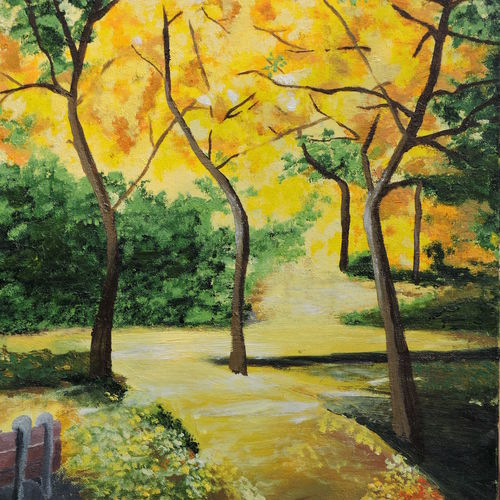 amaltas canopy, 15 x 22 inch, rossetta luther,15x22inch,canvas,paintings,flower paintings,landscape paintings,nature paintings   scenery paintings,photorealism paintings,photorealism,realism paintings,contemporary paintings,realistic paintings,paintings for living room,paintings for bedroom,paintings for office,paintings for kids room,paintings for hotel,paintings for school,paintings for hospital,oil color,GAL02037044331