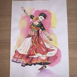 a dancing girl , 12 x 17 inch, janavi mehta,12x17inch,ivory sheet,paintings,figurative paintings,conceptual paintings,religious paintings,portrait paintings,expressionism paintings,impressionist paintings,photorealism paintings,photorealism,surrealism paintings,paintings for dining room,paintings for living room,paintings for bedroom,paintings for office,paintings for kids room,paintings for hotel,paintings for kitchen,paintings for school,paintings for hospital,watercolor,GAL03093344332