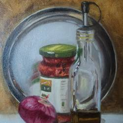 on the dining table, 8 x 10 inch, sangita sarkar,still life paintings,paintings for dining room,canvas,oil,8x10inch,GAL015594434