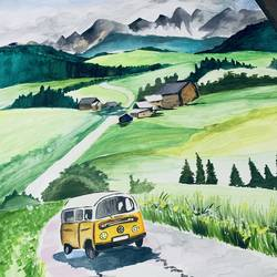 the hill side, 22 x 30 inch, janavi mehta,22x30inch,renaissance watercolor paper,paintings,cityscape paintings,landscape paintings,conceptual paintings,nature paintings | scenery paintings,paintings for dining room,paintings for living room,paintings for bedroom,paintings for office,paintings for bathroom,paintings for kids room,paintings for hotel,paintings for kitchen,paintings for school,paintings for hospital,watercolor,GAL03093344345