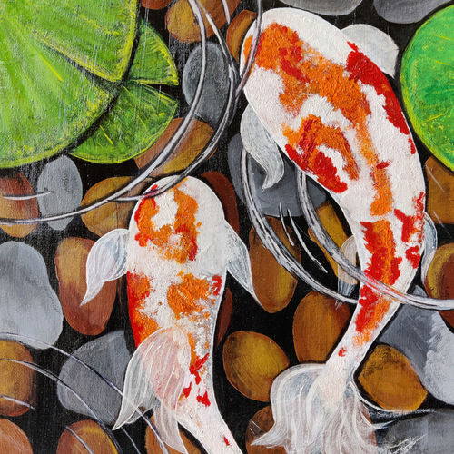 koi fish in a pond-feng shui, 12 x 16 inch, diksha wadhwa,12x16inch,canvas,paintings,nature paintings | scenery paintings,realism paintings,animal paintings,contemporary paintings,paintings for dining room,paintings for living room,paintings for bedroom,paintings for office,paintings for hotel,paintings for dining room,paintings for living room,paintings for bedroom,paintings for office,paintings for hotel,acrylic color,GAL03171444347