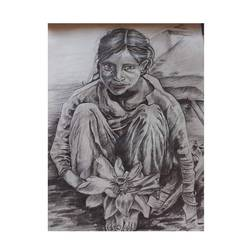 portrait of a slum girl, 10 x 13 inch, swati sankhla,10x13inch,thick paper,drawings,photorealism drawings,portrait drawings,realism drawings,street art,paintings for dining room,paintings for living room,paintings for bedroom,paintings for office,paintings for kids room,paintings for hotel,paintings for kitchen,paintings for school,paintings for hospital,graphite pencil,GAL03167044376