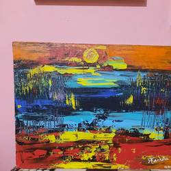 sunset, 18 x 14 inch, akanksha puprediwar,18x14inch,canvas board,paintings,abstract paintings,landscape paintings,paintings for living room,paintings for office,paintings for hotel,acrylic color,GAL03173944379