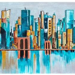 the windy city, 12 x 17 inch, kabita choudhary,12x17inch,canvas,paintings,cityscape paintings,acrylic color,GAL01371444387