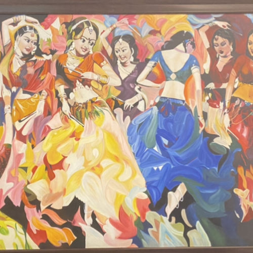 dancing girls, 26 x 63 inch, anamika r,26x63inch,canvas,paintings,folk art paintings,religious paintings,portrait paintings,expressionism paintings,illustration paintings,impressionist paintings,minimalist paintings,photorealism paintings,photorealism,portraiture,realism paintings,street art,surrealism paintings,realistic paintings,paintings for dining room,paintings for living room,paintings for bedroom,paintings for office,paintings for kids room,paintings for hotel,paintings for kitchen,paintings for school,oil color,GAL02955744395