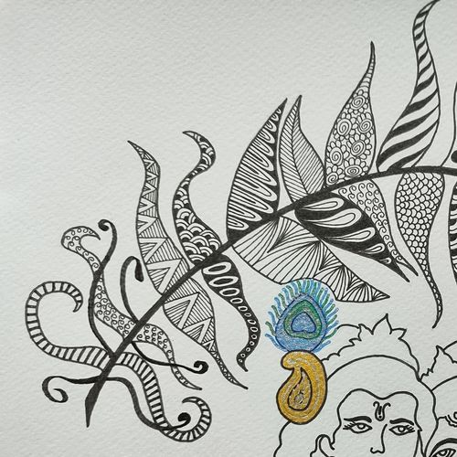 radhey krishna, 11 x 8 inch, parul gupta,11x8inch,thick paper,drawings,paintings for dining room,paintings for living room,paintings for bedroom,paintings for office,figurative drawings,illustration drawings,paintings for dining room,paintings for living room,paintings for bedroom,paintings for office,pen color,ball point pen,paper,GAL03176044410