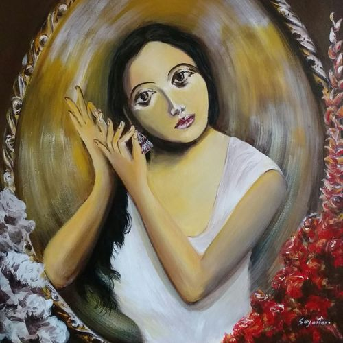 attachment, 30 x 36 inch, sayantan  ghati ,figurative paintings,paintings for living room,canvas,acrylic color,30x36inch,GAL07704442