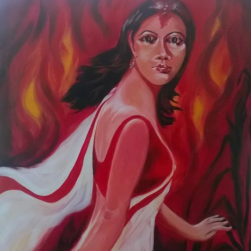 anger, 30 x 36 inch, sayantan  ghati ,figurative paintings,paintings for living room,canvas,acrylic color,30x36inch,GAL07704443
