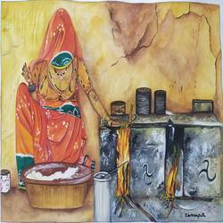 This water colour painting depicts a typical day in the life of a rajasthani woman doing her daily chores on her age old chulah