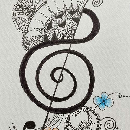 in sync with music, 8 x 11 inch, parul gupta,8x11inch,thick paper,drawings,expressionism drawings,paintings for dining room,paintings for living room,paintings for bedroom,pen color,paper,GAL03176044438
