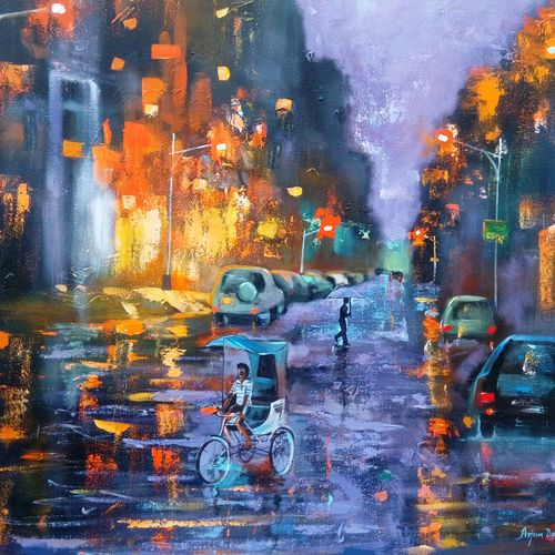 rainy day 2, 30 x 30 inch, arjun das,cityscape paintings,paintings for bedroom,canvas,acrylic color,30x30inch,GAL01124444