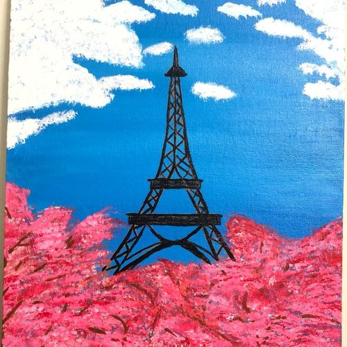 mystic eiffel tower with cherry blossom, 11 x 14 inch, ruchi chandra verma,11x14inch,canvas,paintings,landscape paintings,nature paintings   scenery paintings,contemporary paintings,paintings for dining room,paintings for living room,paintings for bedroom,paintings for dining room,paintings for living room,paintings for bedroom,acrylic color,GAL02794544444