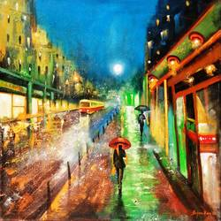 rainy day 3, 30 x 30 inch, arjun das,cityscape paintings,paintings for bedroom,canvas,acrylic color,30x30inch,GAL01124445